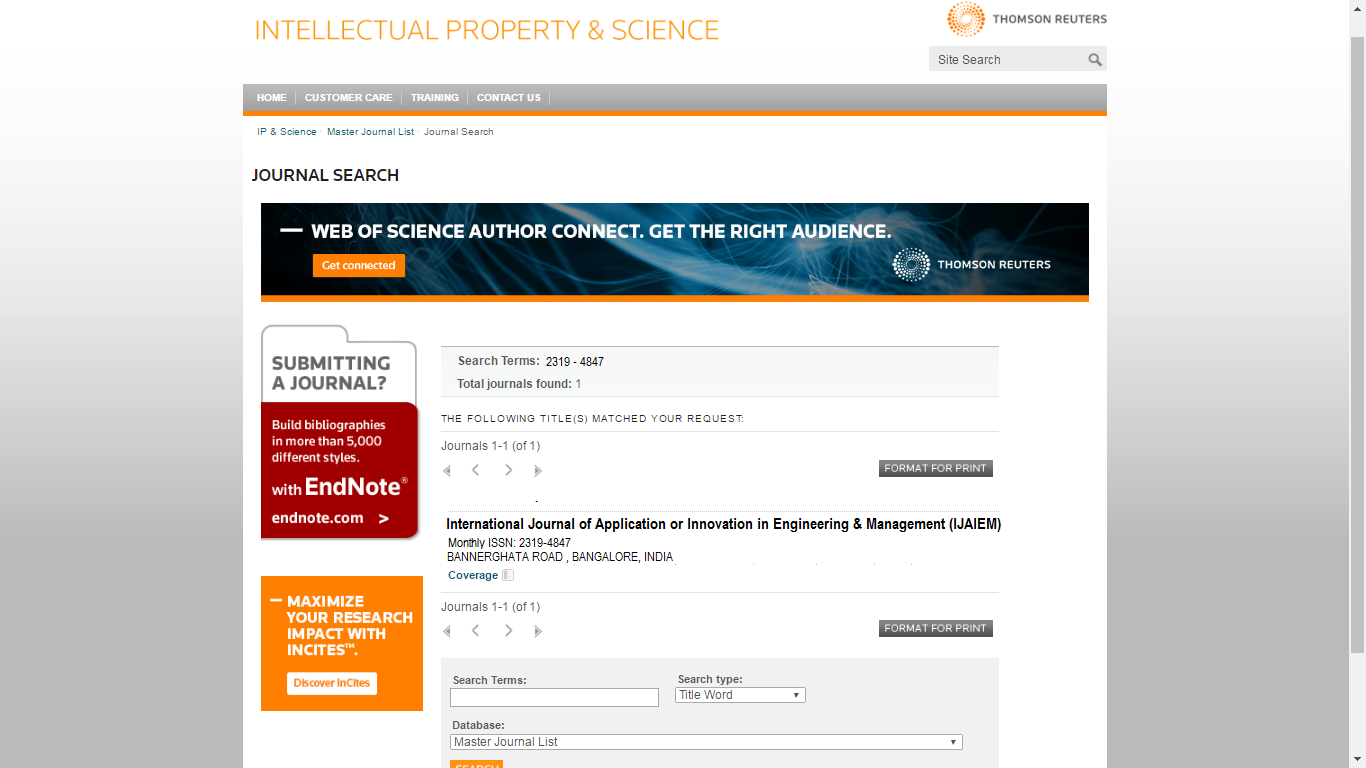 IJAIEM :Indexed & Approved by Thomsen Reuters, Scopus Society, UGC